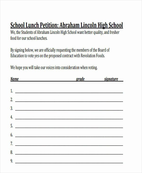 Create A Petition form Lovely 8 School Petition Free Samples Examples formats Download