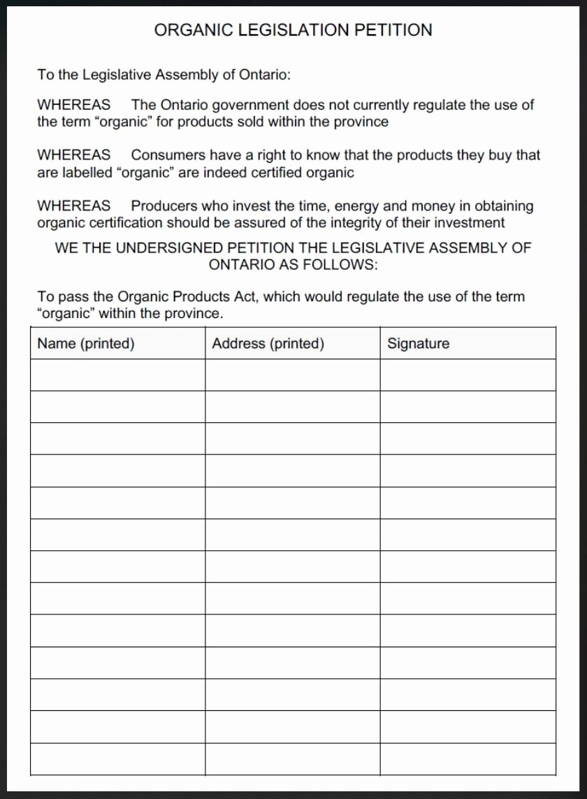 Create A Petition form Luxury Postcards & Petitions – the organic Council Of Tario