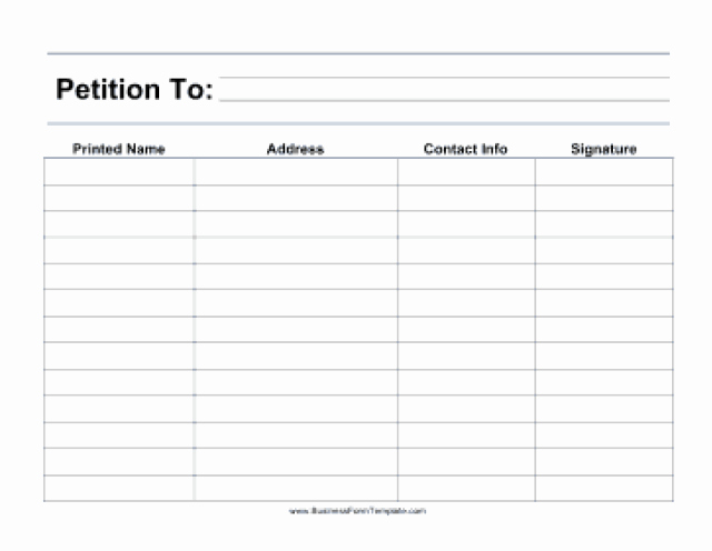 Create A Petition form Unique Petition Templates Find Word Templates