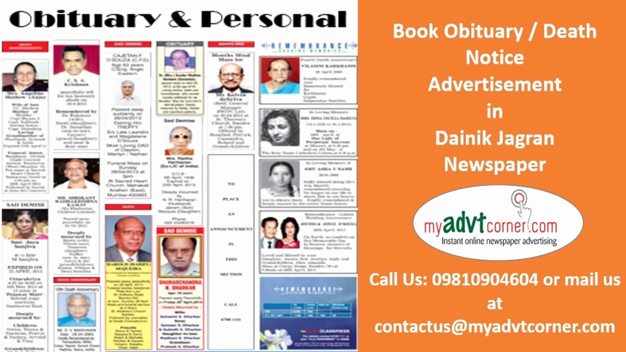 Create An Obituary Online Free Awesome Make Obituary Ad Booking for Lucknow Via Online Mode