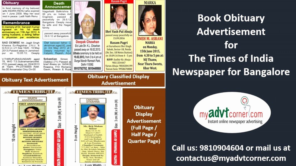 Create An Obituary Online Free Inspirational Want to Make the Times Of India Obituary Ad Booking for