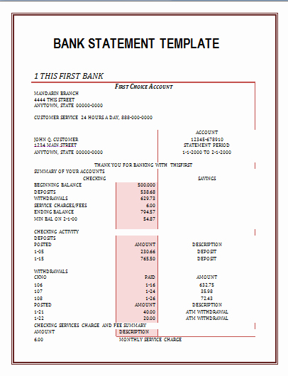 Create Bank Statements Free Elegant Bank Statements