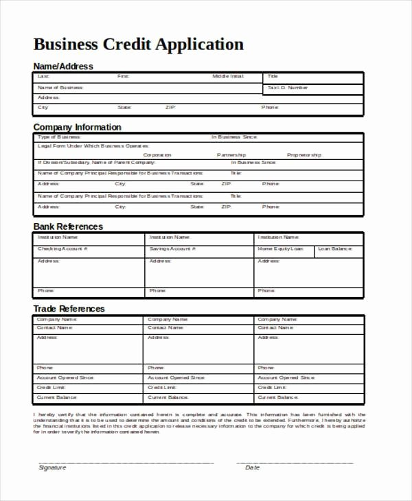 Credit Application form for Business Awesome Application form In Word