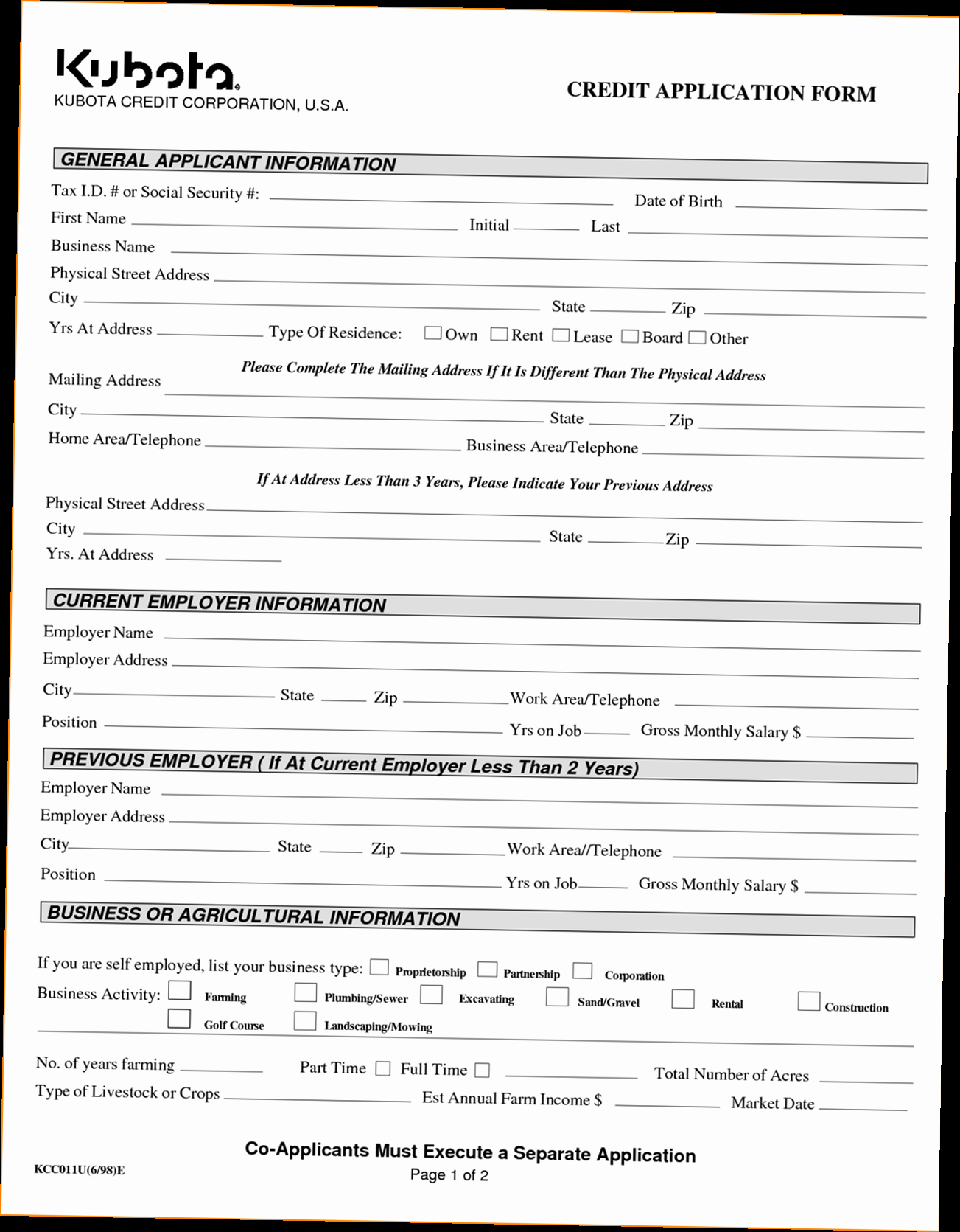 Credit Application form for Business Awesome Business Credit Application form Pdf