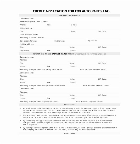 Credit Application form for Business Elegant Credit Application Template 33 Examples In Pdf Word