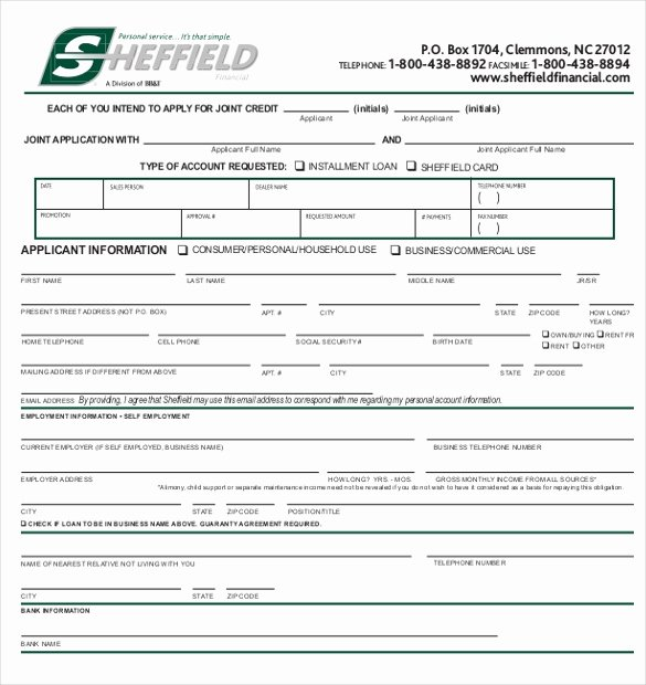 Credit Application form for Business Lovely Credit Application Template – 13 Free Word Pdf Documents