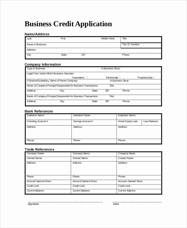 Credit Application form for Business Lovely Sample Credit Application form 8 Documents In Pdf Word