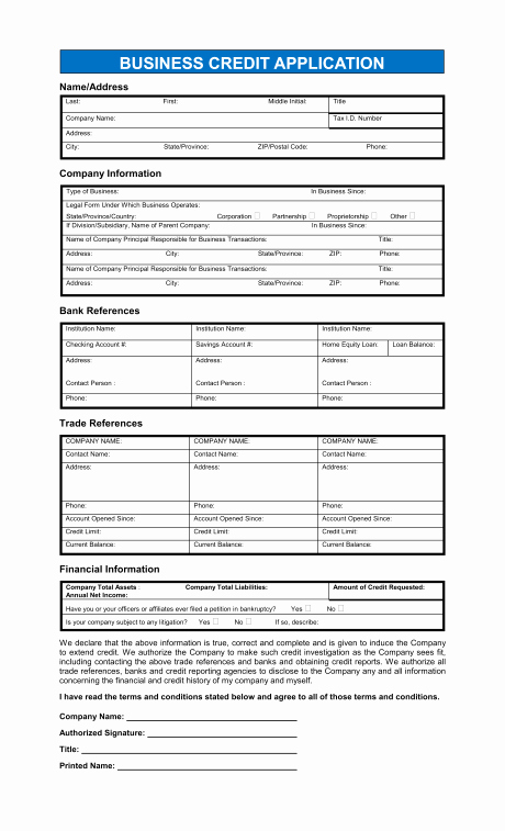 Credit Application form for Business Luxury Credit Application Blank form — Rambler Images