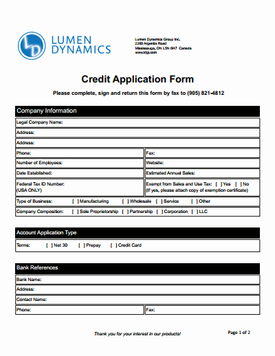 Credit Application form for Business Luxury Credit Application form Download Create Edit Fill and