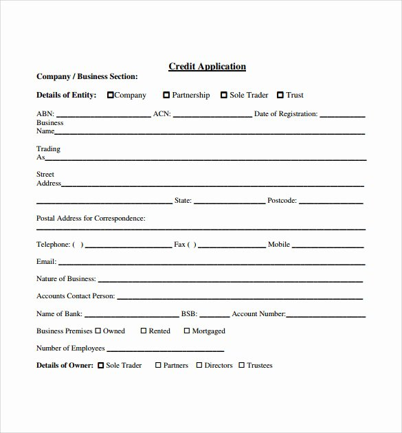 Credit Application Template Elegant Free Credit Application forms for Business