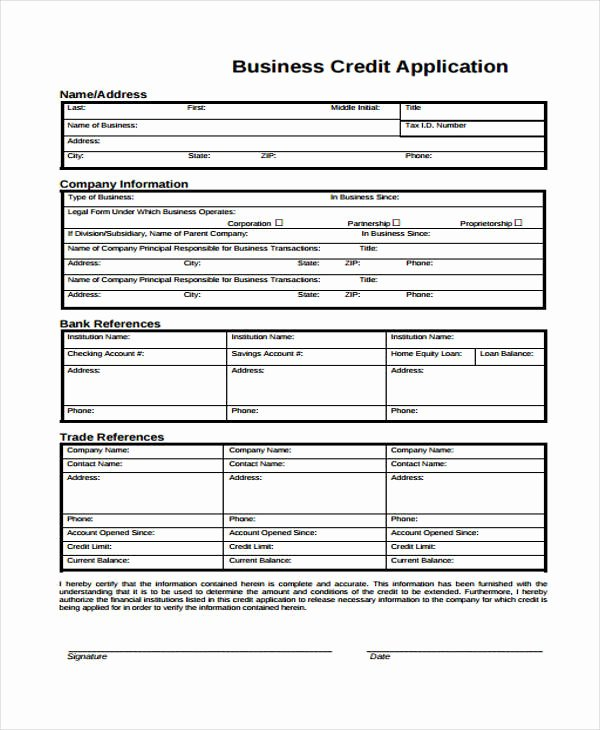 Credit Application Template Fresh 15 Credit Application form Templates