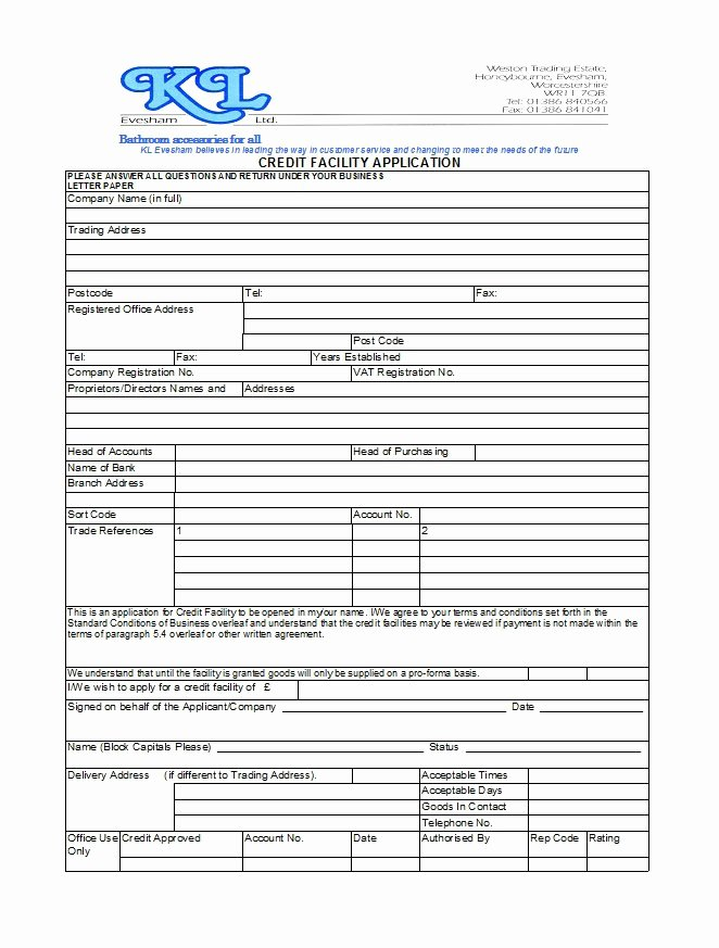 Credit Application Template Fresh 40 Free Credit Application form Templates & Samples