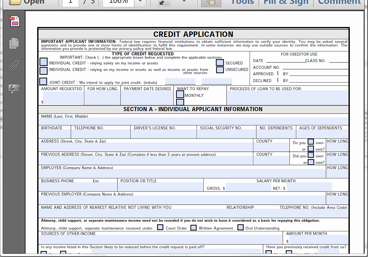 Credit Application Template Fresh Collect Credit Applications Line with formstack