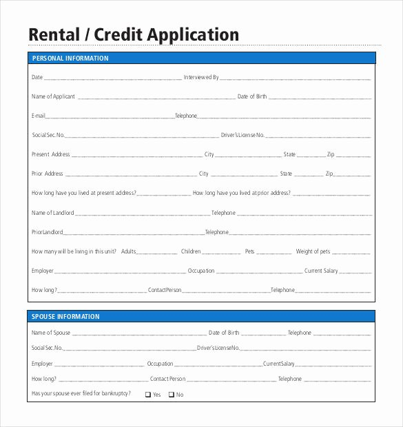 Credit Application Template Fresh Credit Application Template 33 Examples In Pdf Word
