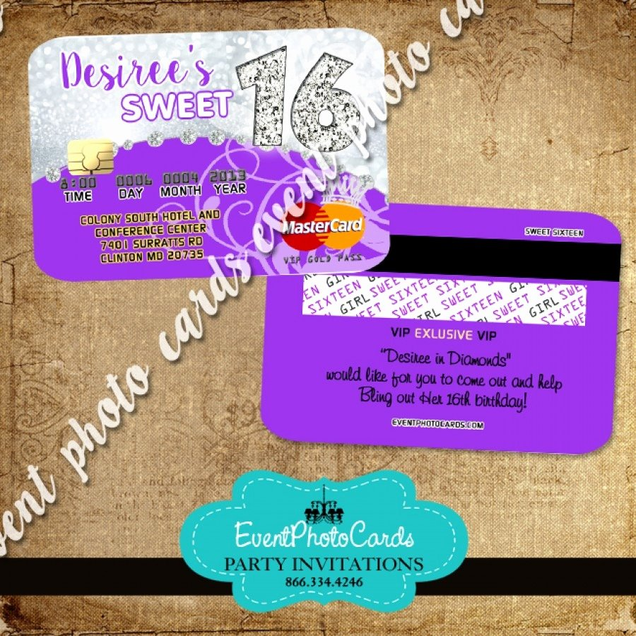 Credit Card Invitation Template Beautiful Silver Purple Sweet 16 Invitations Glitter – Invitation