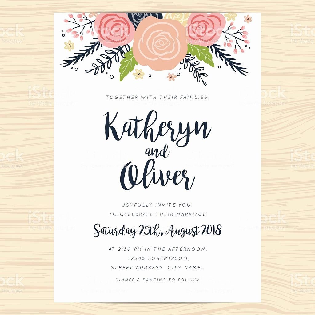 Credit Card Invitation Template Beautiful Wedding Invitation Card with Hand Drawn Wreath Flower