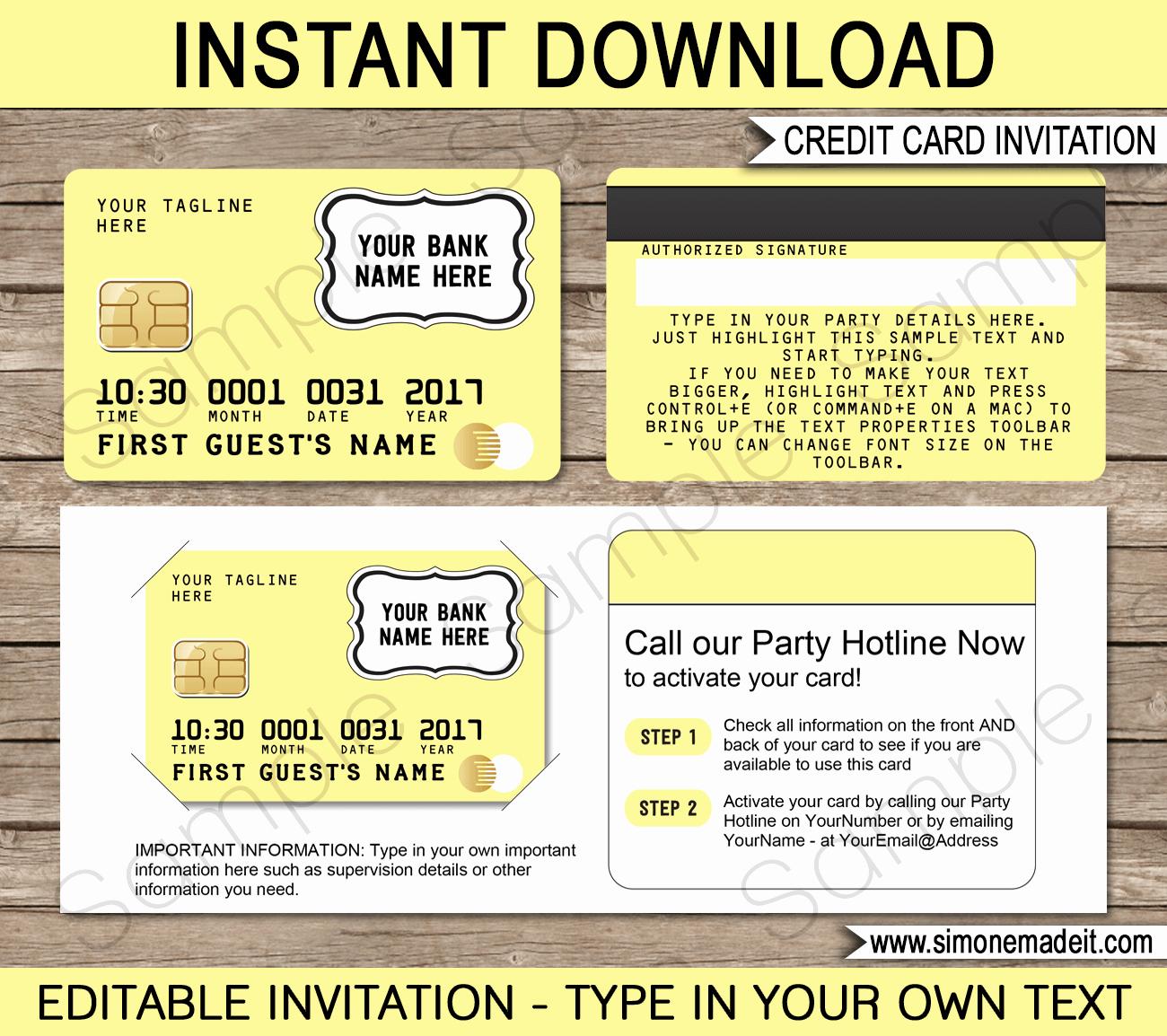 Credit Card Invitation Template Best Of Yellow Credit Card Invitations