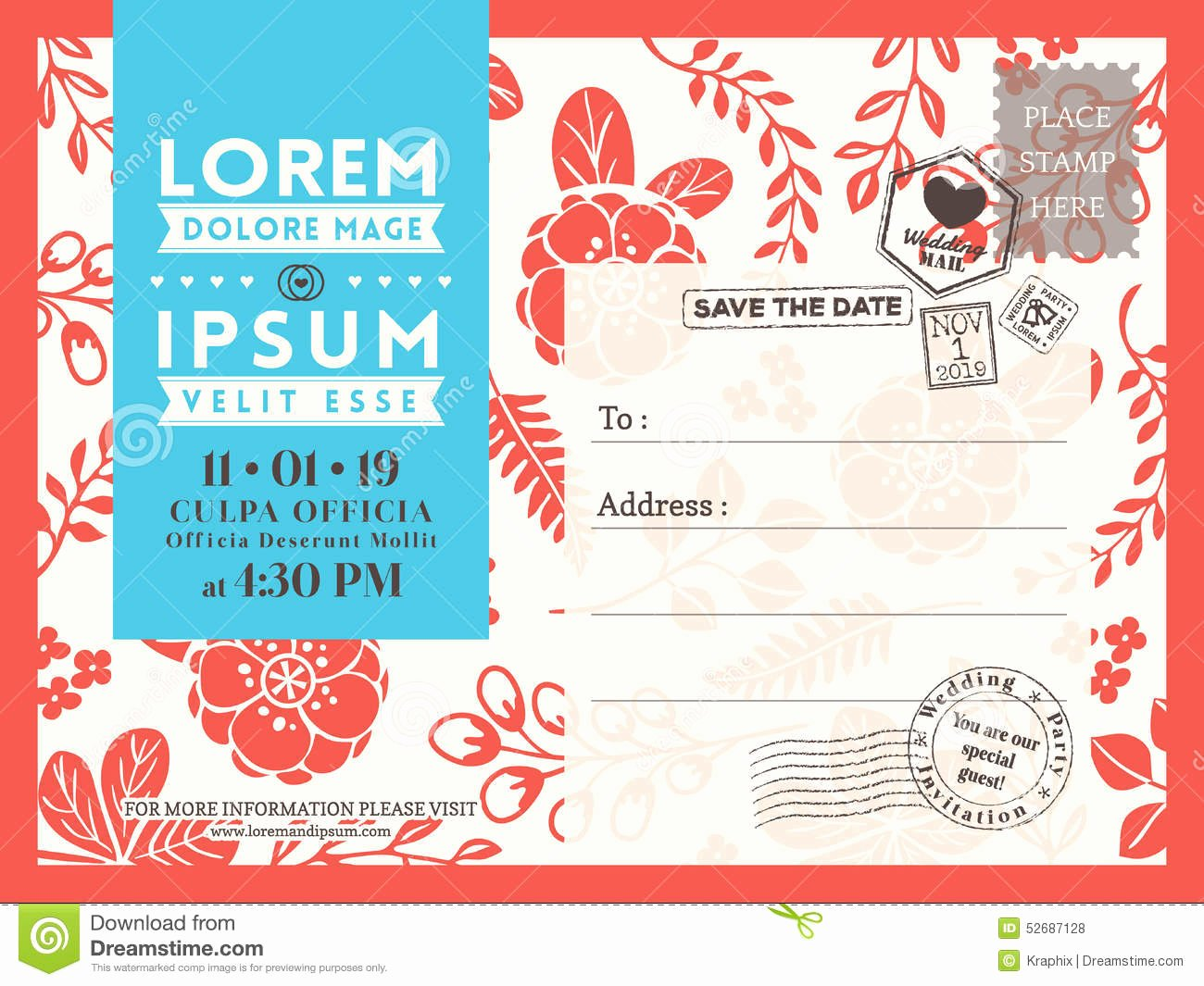 Credit Card Invitation Template Elegant Floral Postcard Background Template for Wedding Invitation