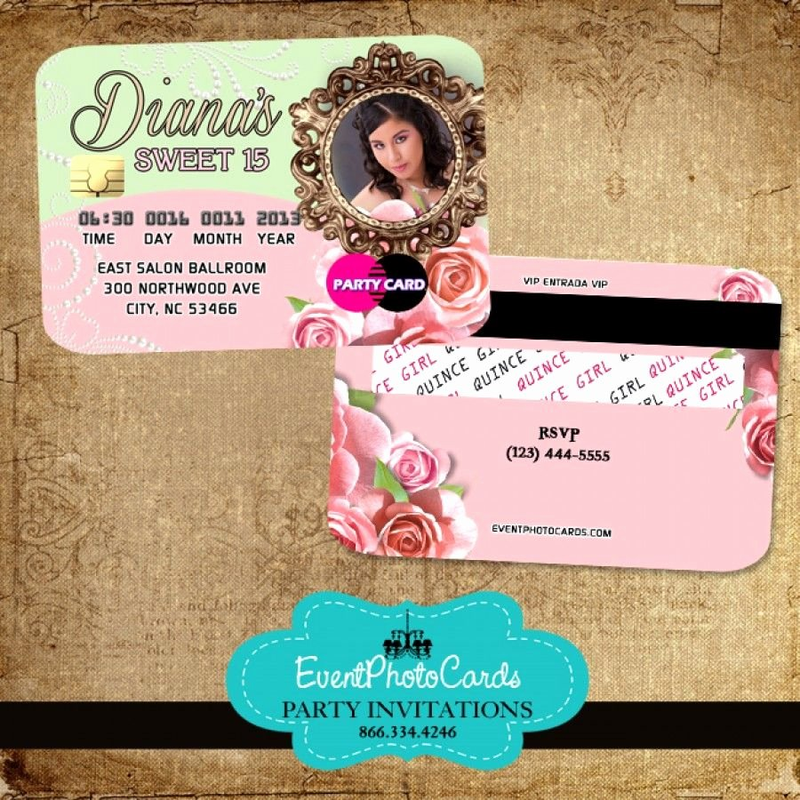 Credit Card Invitation Template Inspirational Floral Roses Quinceanera Invitations Credit Card