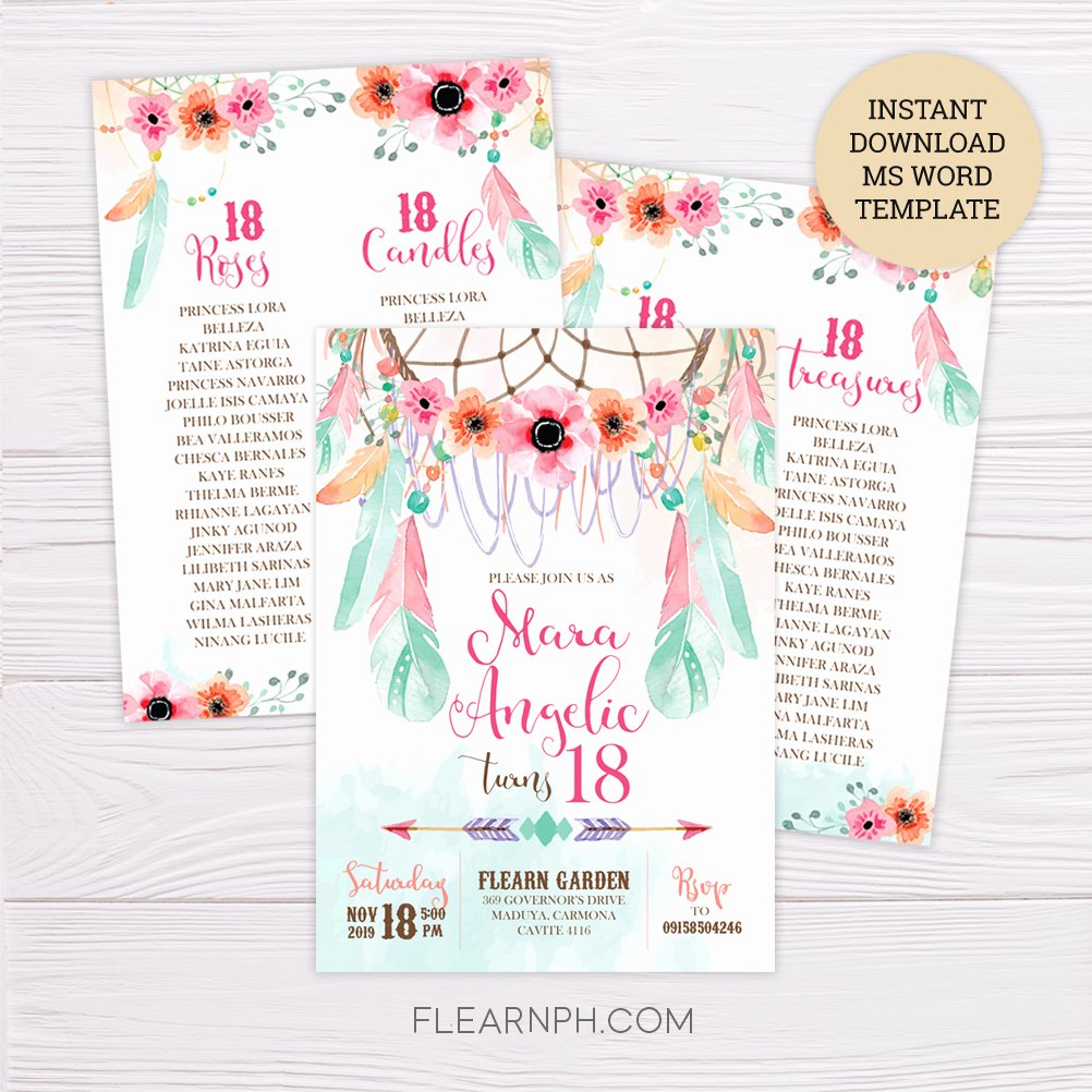Credit Card Invitation Template New Pink & Green Bohemian Debut Invitation Template – Flearn Ph