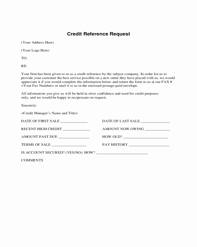 Credit Reference Sheet Template Beautiful Credit Reference Request form Edit Fill Sign Line