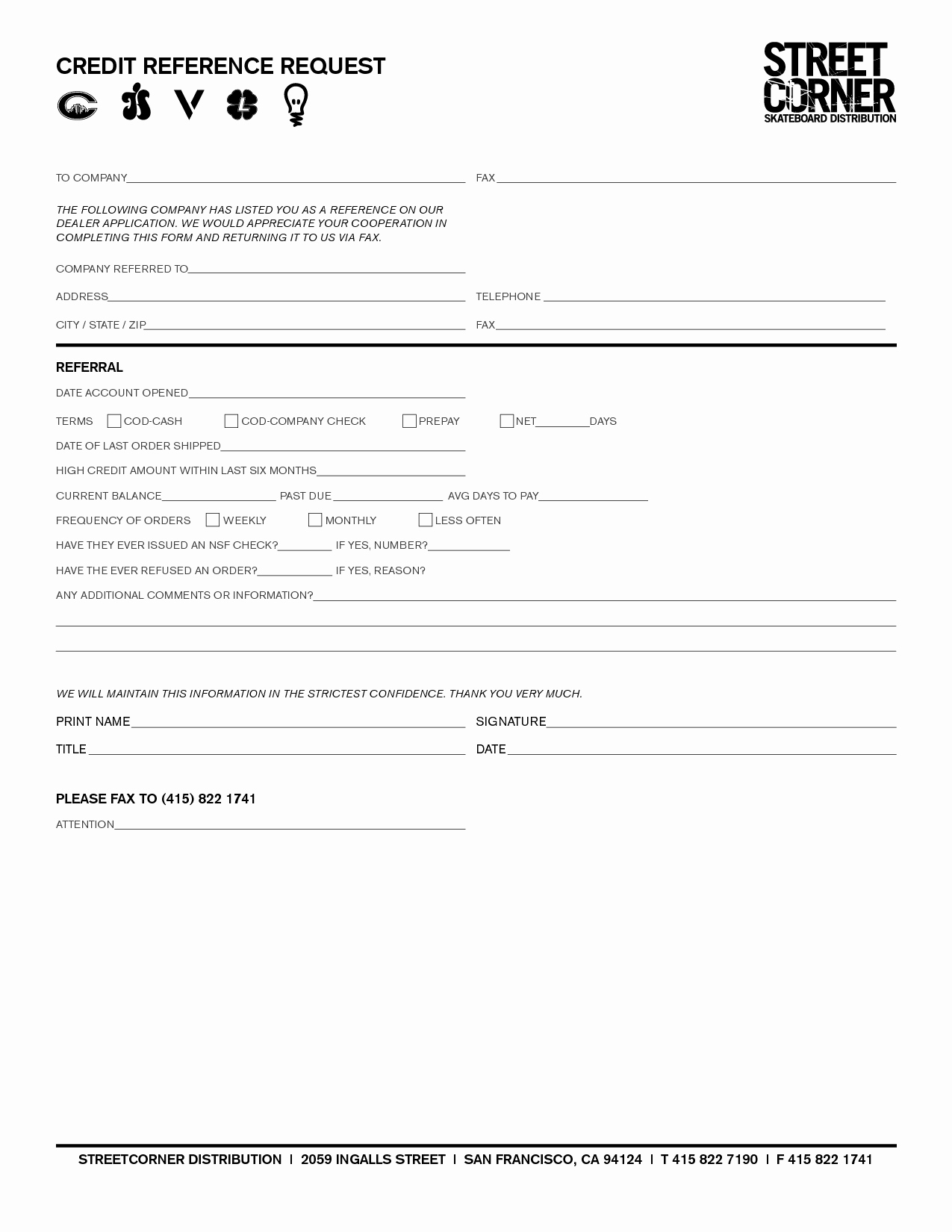 Credit Reference Sheet Template Unique Credit Reference form Free Printable Documents