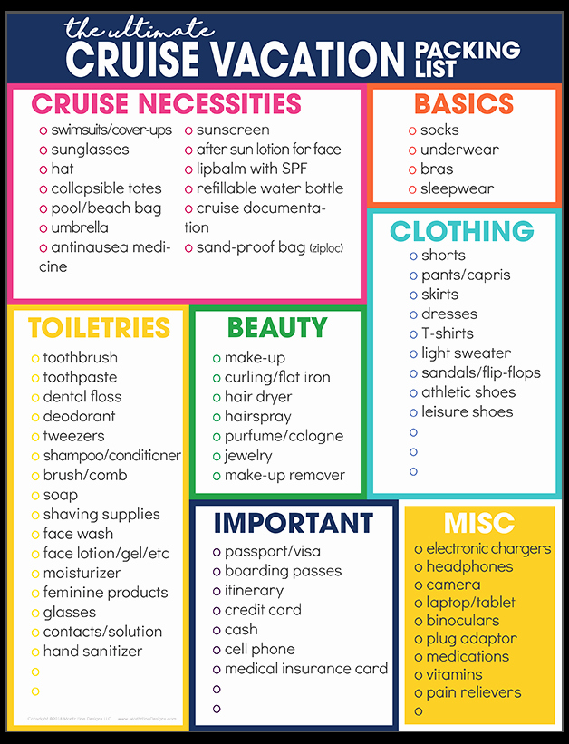 Cruise Packing List Printable Awesome Cruise Vacation Packing List
