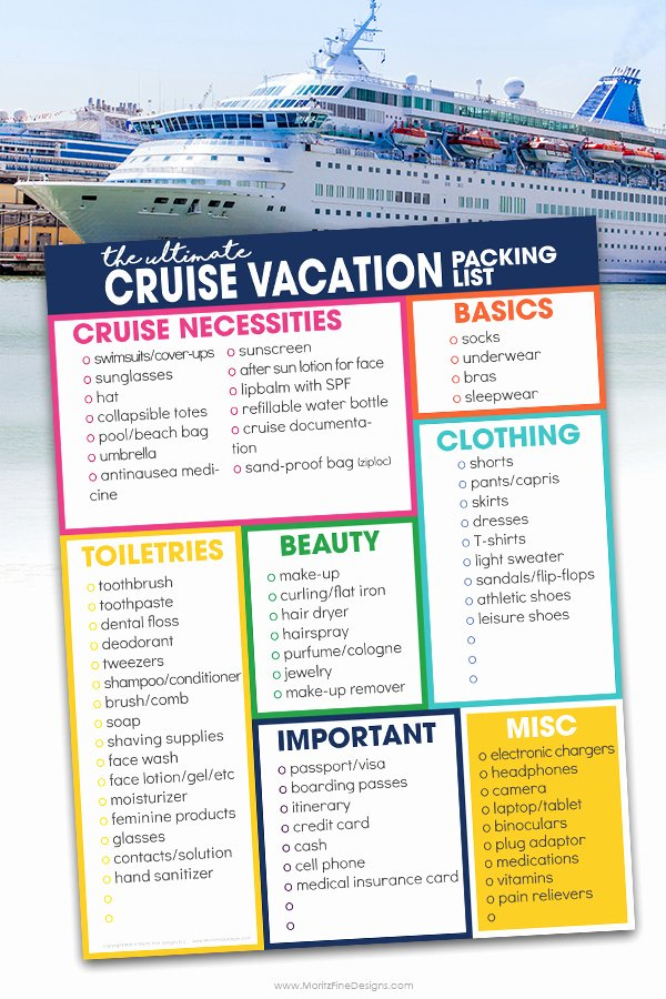 Cruise Packing List Printable Elegant Cruise Vacation Packing List