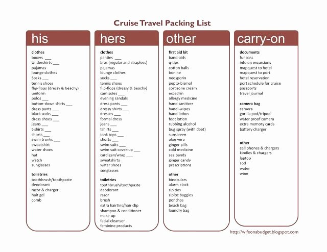 Cruise Packing List Printable Lovely Cruise Checklist Printable