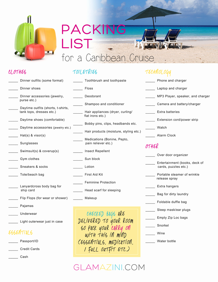 Cruise Packing List Printable Lovely How to Write A Packing List for A Caribbean Cruise
