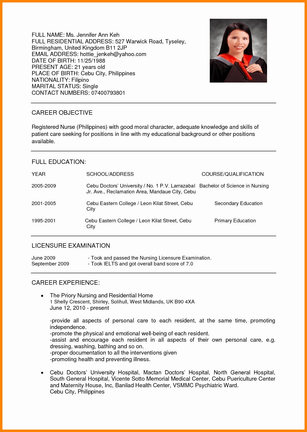 Curriculum Vitae for Nurses Awesome 13 Curriculum Vitae Examples for Nurses