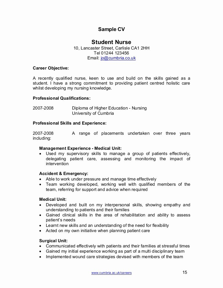 Curriculum Vitae for Nurses Awesome Nurse Cv Template