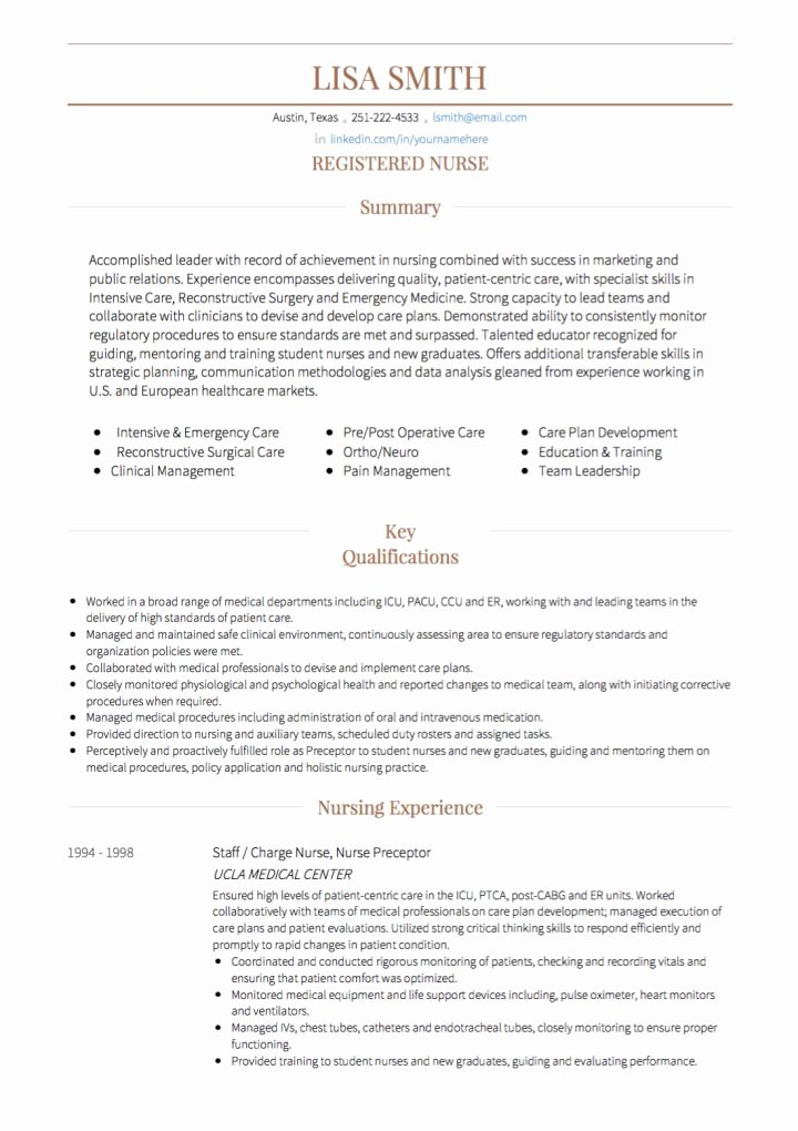 Curriculum Vitae for Nurses Lovely Nursing Cv Examples & Templates