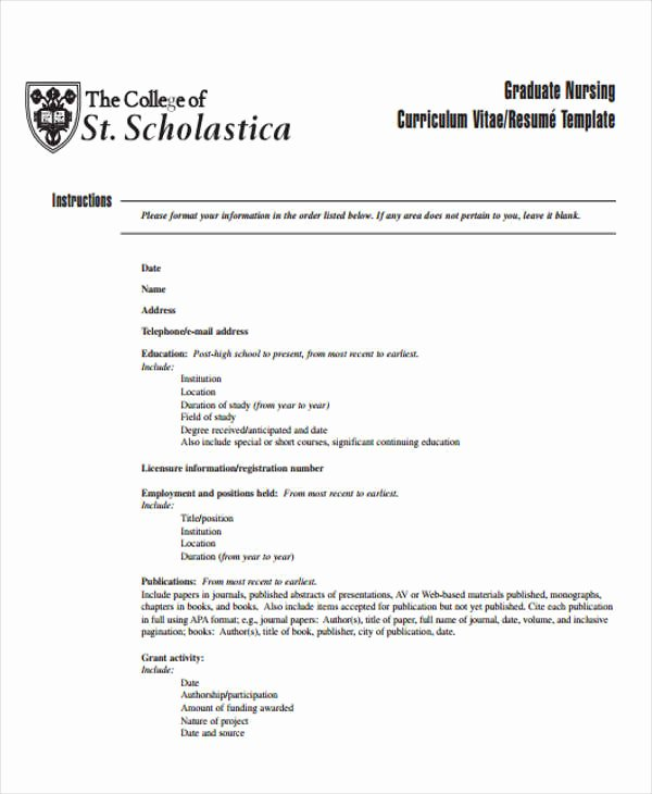 Curriculum Vitae for Nurses Luxury 7 Nursing Curriculum Vitae Templates Pdf Doc