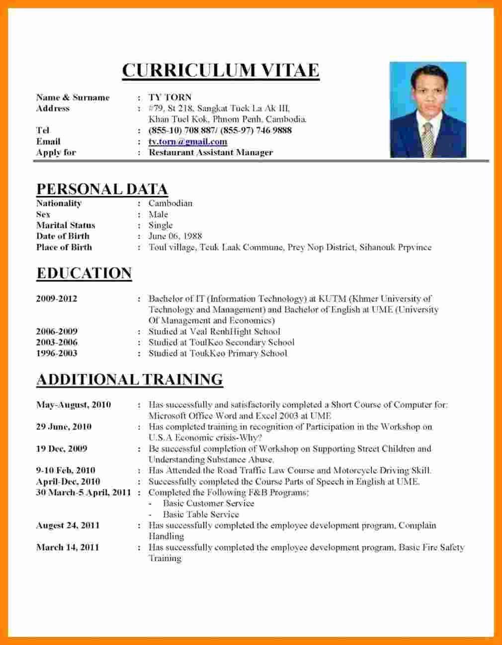 Curriculum Vitae Samples New 5 Cv Samples for Job