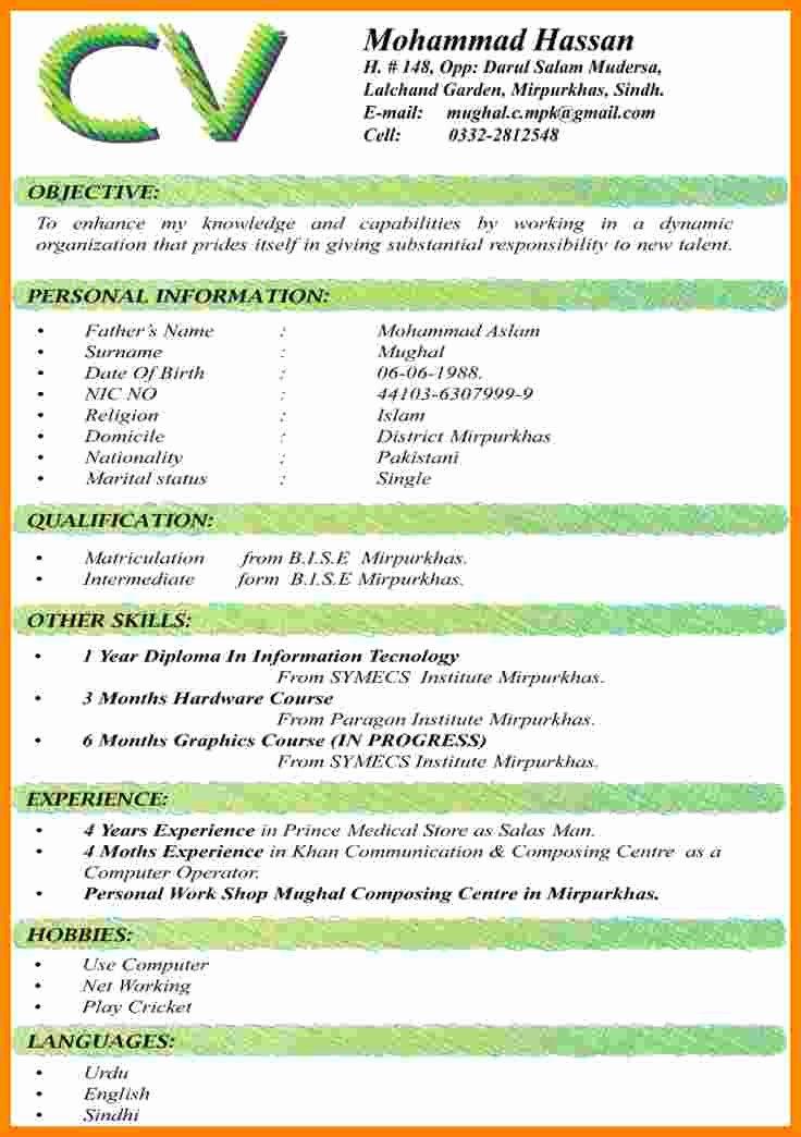 Curriculum Vitae Samples New 9 Cv format Samples Pdf