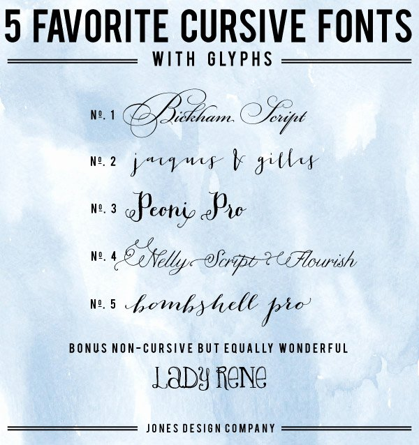 5 favorite cursive fonts with glyphs and how to use them