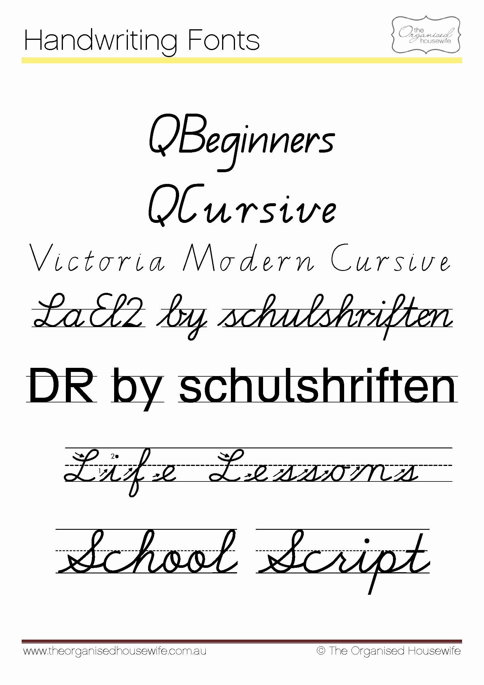 Cursive Handwriting Fonts Free New Fonts to Help Kids to Write Qld Cursive the organised