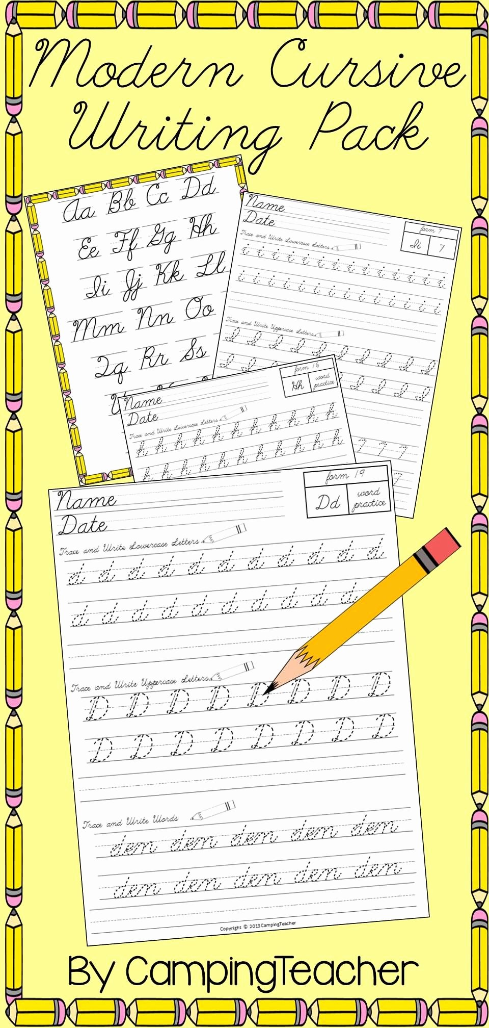 Cursive Handwriting Practice Awesome Modern Cursive Writing Pack Handwriting Practice D