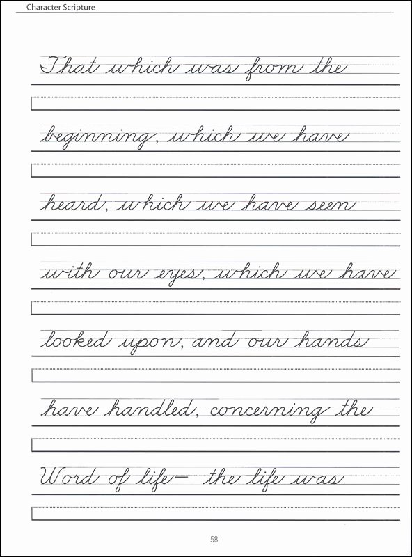 Cursive Handwriting Practice Inspirational Grades 2 4 Zaner Bloser Cursive with Scripture Passages