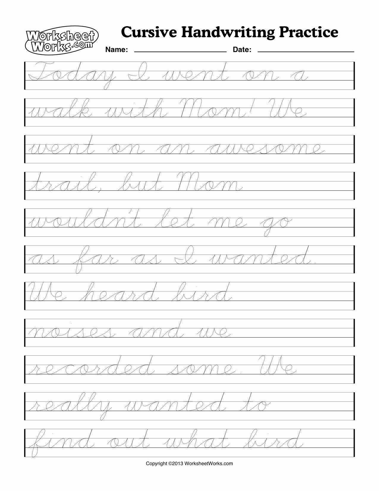 Cursive Handwriting Practice Lovely the Marigold Home