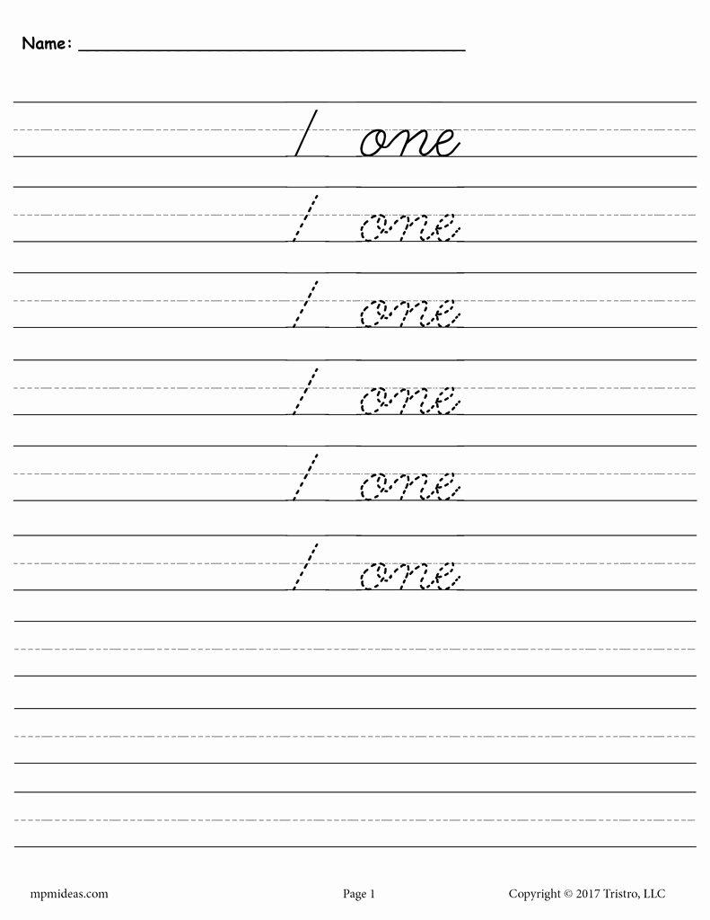 Cursive Handwriting Worksheets Fresh Free Cursive Handwriting & Number Tracing Worksheets 1 20