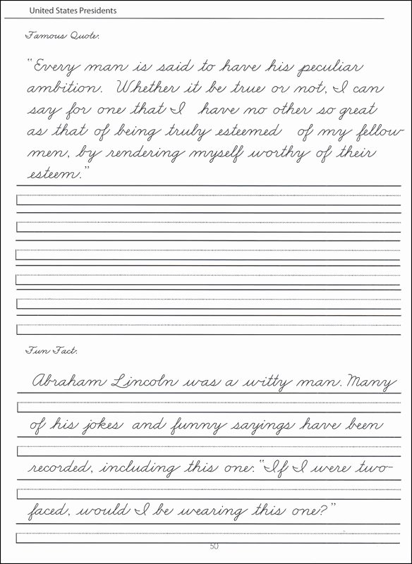 Cursive Handwriting Worksheets Lovely 45 United States Presidents Character Writing Worksheets