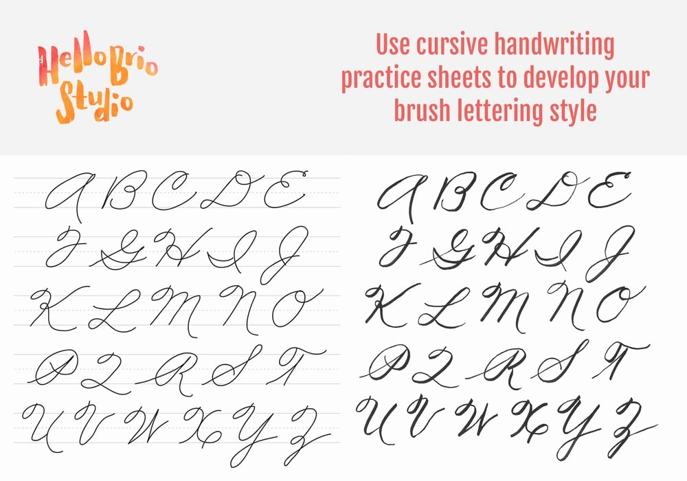 Cursive Writing Practice Sheets Fresh Practice Brush Lettering with Cursive Handwriting