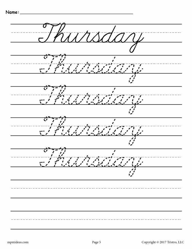 Cursive Writing Practice Sheets Lovely 7 Free Cursive Handwriting Worksheets Days Of the Week