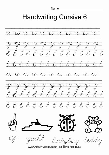 Cursive Writing Practice Sheets New Handwriting Practice Cursive 6