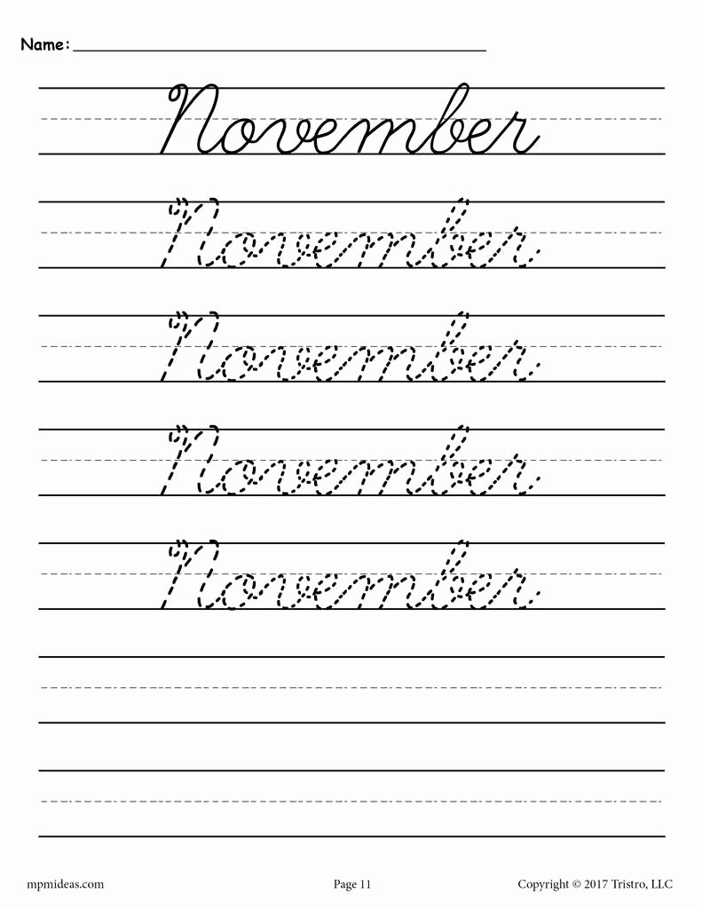 Cursive Writing Worksheet Lovely 12 Free Cursive Handwriting Worksheets Months Of the