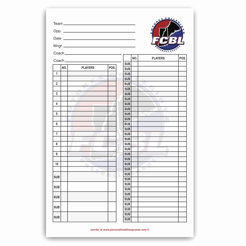 Custom Baseball Lineup Cards Best Of Lineup Cards Made Custom for Baseball and softball Teams