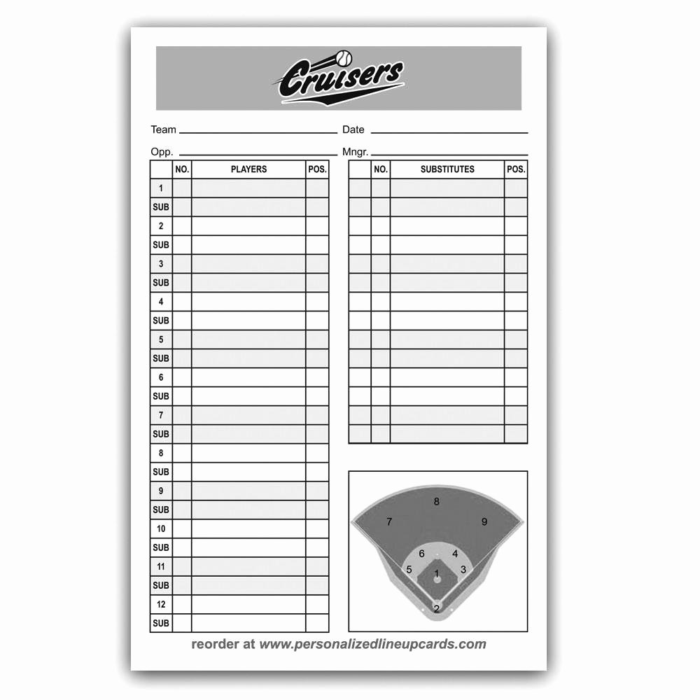 Custom Baseball Lineup Cards Inspirational Personalized Baseball & softball Lineup & Dugout Cards