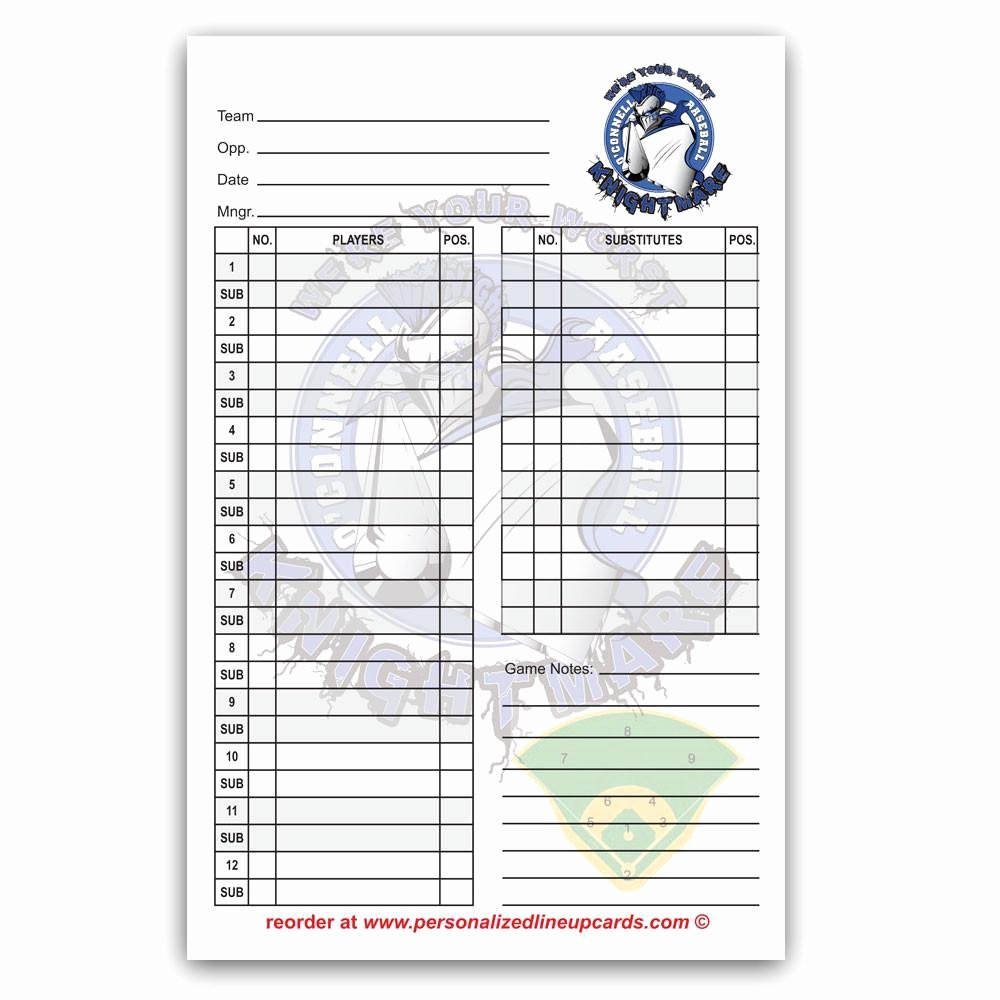 Custom Baseball Lineup Cards Luxury Printable Baseball Lineup Cards – Jowo